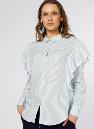 Only Only Fırfır Detaylı Mavi-Beyaz Gömlek Beyaz